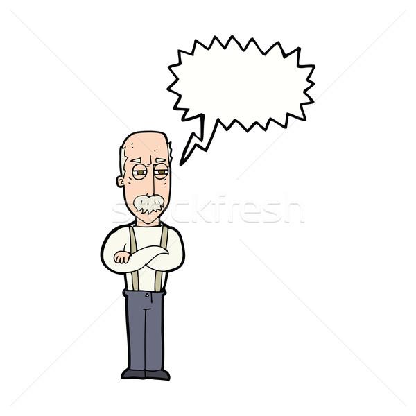 Cartoon agacé vieillard bulle main homme Photo stock © lineartestpilot