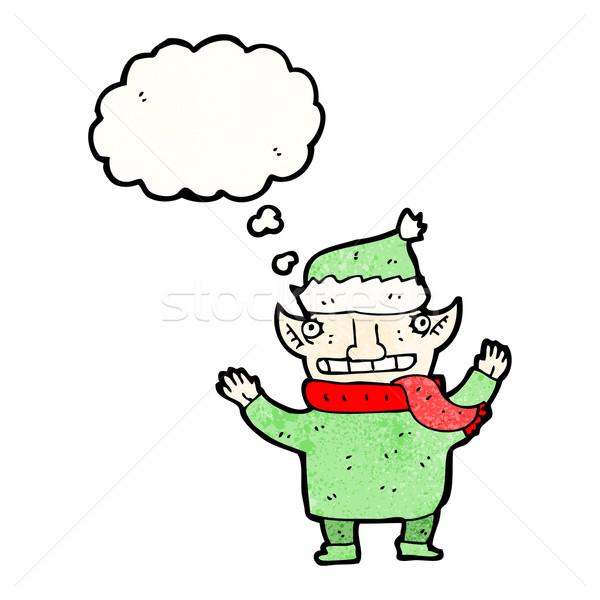 Desenho animado elfo balão de pensamento textura mão feliz Foto stock © lineartestpilot