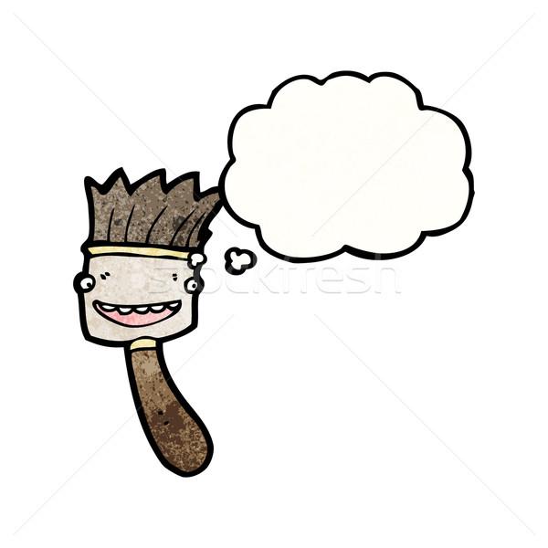 Cartoon pinceau bulle de pensée texture main heureux Photo stock © lineartestpilot