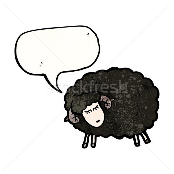 Сток-фото: Cartoon · черный · овец · говорить · ретро · рисунок