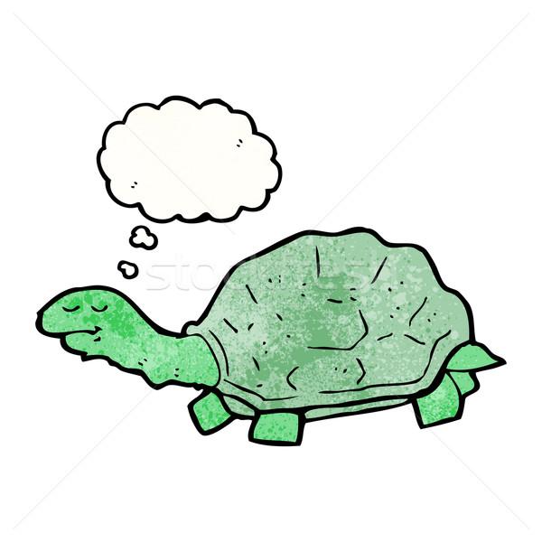 Cartoon черепаха ретро рисунок Идея пузыря Сток-фото © lineartestpilot