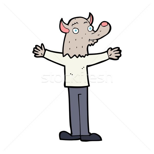 Karikatür dostça kurt adam el mutlu dizayn Stok fotoğraf © lineartestpilot
