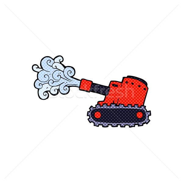 comic cartoon army tank Stock photo © lineartestpilot