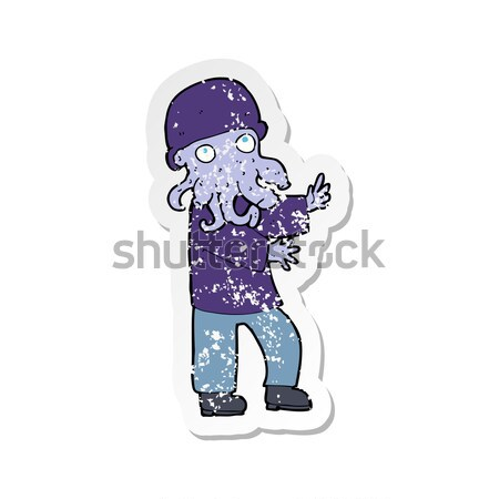 comic cartoon hippie man with bag of weed Stock photo © lineartestpilot