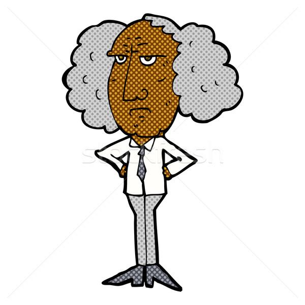 comic cartoon big hair lecturer man Stock photo © lineartestpilot