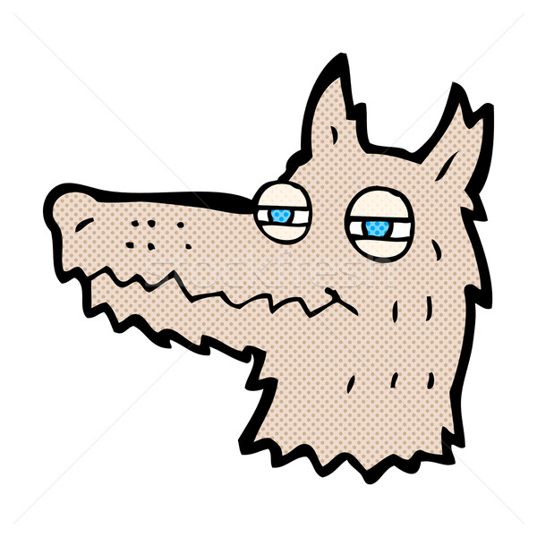 comic cartoon smug wolf face Stock photo © lineartestpilot