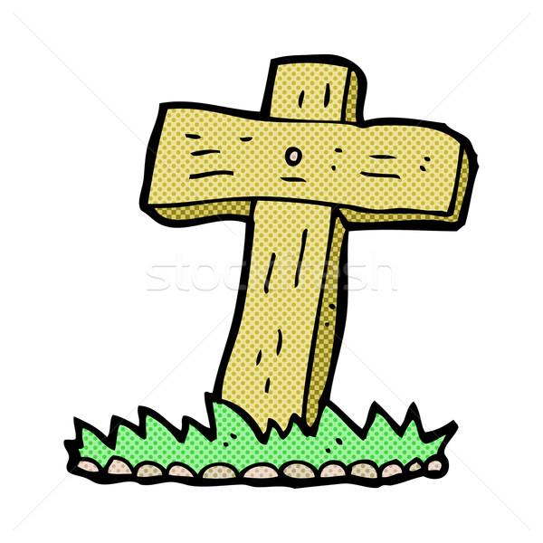 Komische cartoon houten kruis graf retro Stockfoto © lineartestpilot