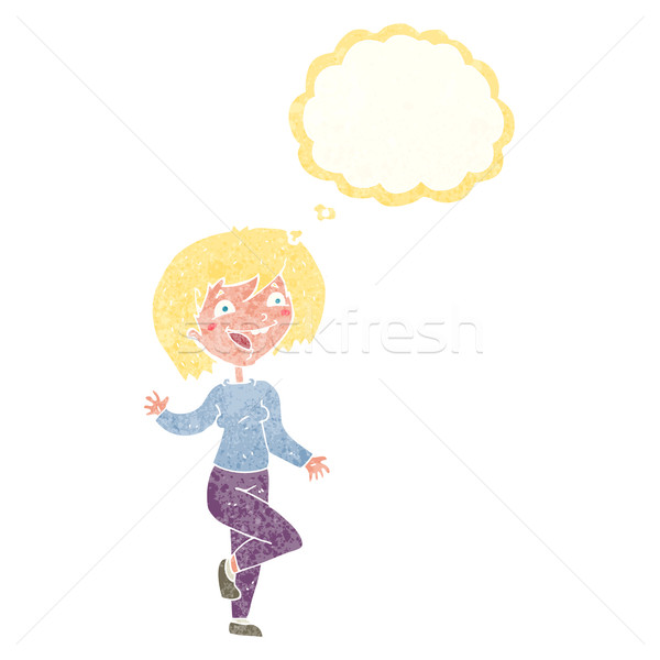 cartoon laughing woman with thought bubble Stock photo © lineartestpilot