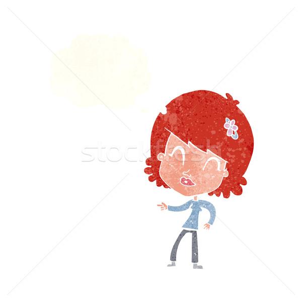 Cartoon счастливым женщину указывая мысли пузырь стороны Сток-фото © lineartestpilot