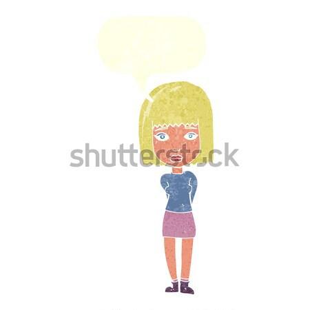 Cartoon vrouw handen heupen gedachte bel hand Stockfoto © lineartestpilot