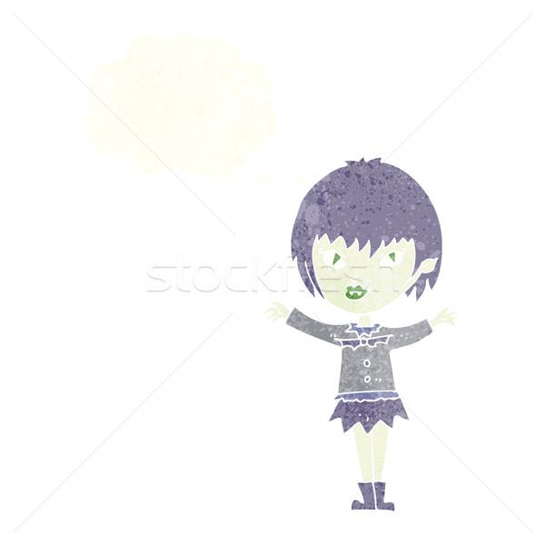 Cartoon wampira dziewczyna bubble myśl kobieta strony Zdjęcia stock © lineartestpilot
