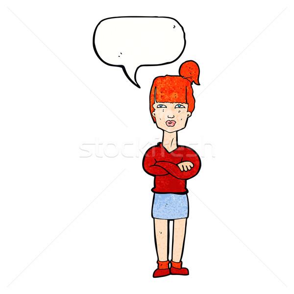 Desenho animado irritado mulher balão de fala mão projeto Foto stock © lineartestpilot