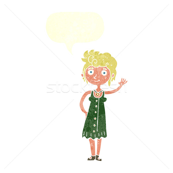 cartoon hippie woman waving with speech bubble Stock photo © lineartestpilot