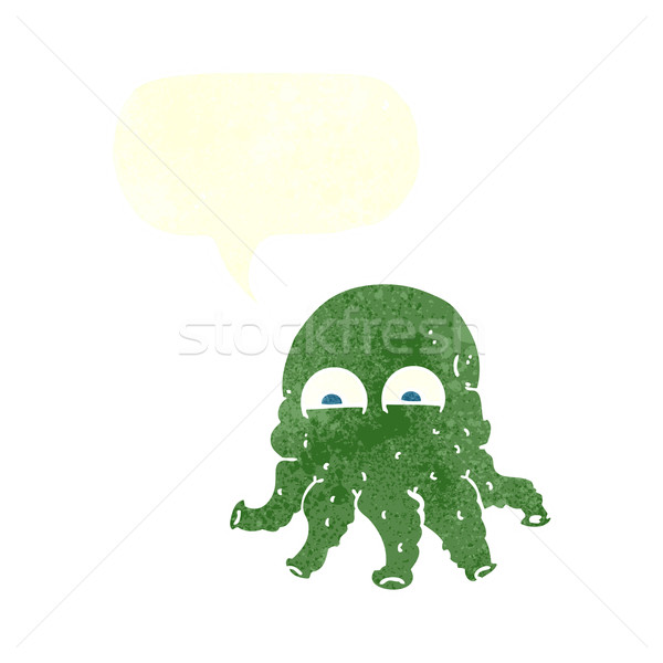cartoon alien squid face with speech bubble Stock photo © lineartestpilot