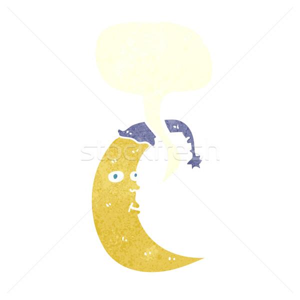 álmos hold rajz szövegbuborék kéz terv Stock fotó © lineartestpilot