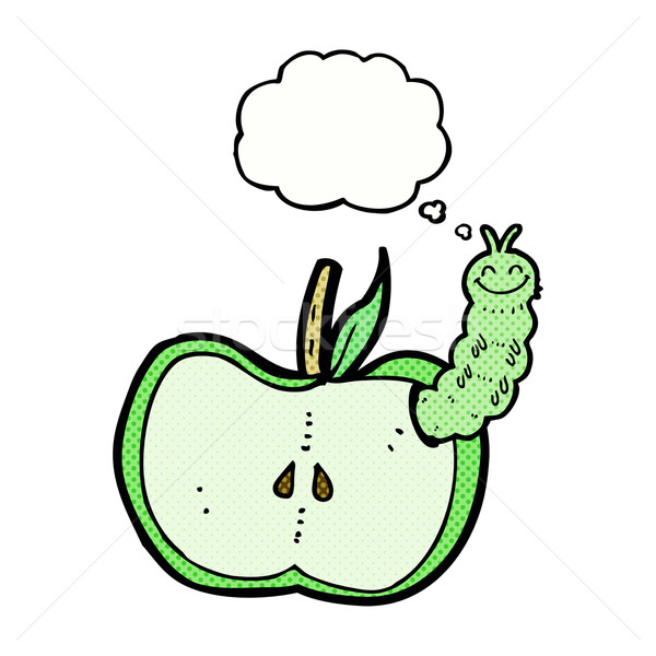 cartoon apple with bug with thought bubble Stock photo © lineartestpilot