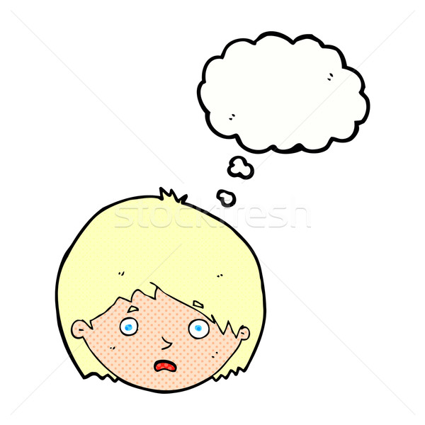 cartoon unhappy boy with thought bubble Stock photo © lineartestpilot