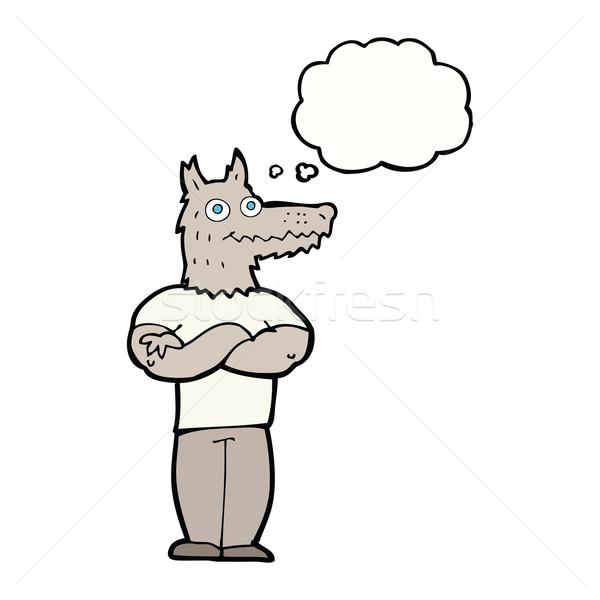 Cartoon lupo mannaro bolla di pensiero mano design testa Foto d'archivio © lineartestpilot