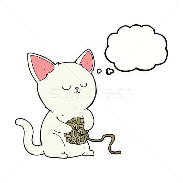 Cartoon kat spelen bal garen gedachte bel Stockfoto © lineartestpilot