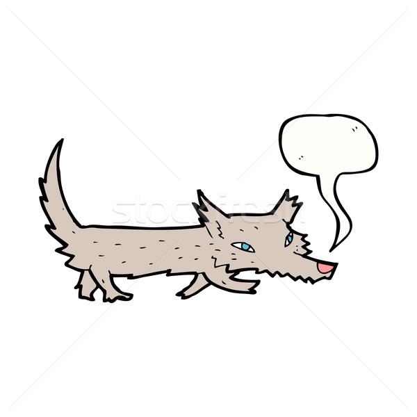 Cartoon мало волка речи пузырь стороны дизайна Сток-фото © lineartestpilot