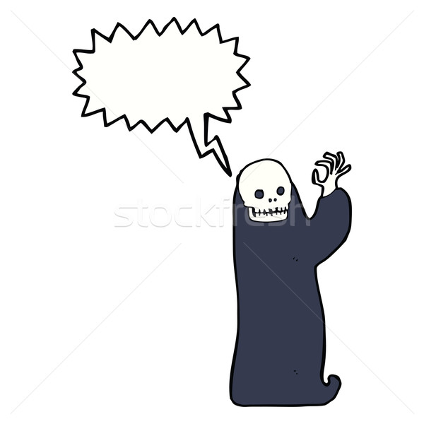 cartoon waving halloween ghoul with speech bubble Stock photo © lineartestpilot