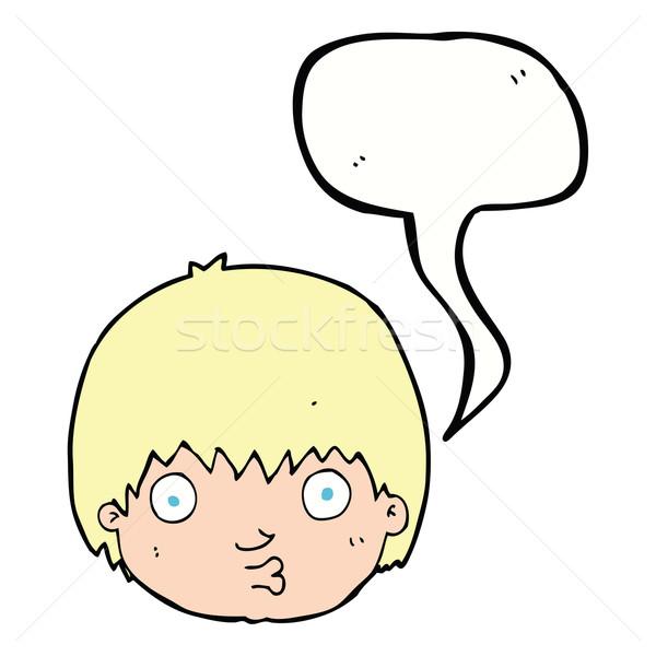 Cartoon curioso nino bocadillo mano cara Foto stock © lineartestpilot