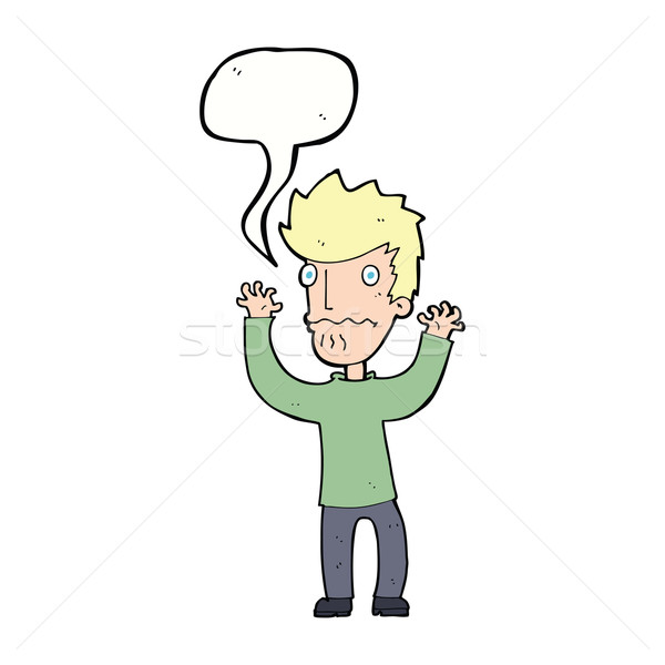 Cartoon bange man tekstballon hand ontwerp Stockfoto © lineartestpilot