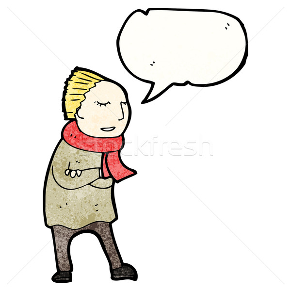 cartoon person wrapped up for winter Stock photo © lineartestpilot
