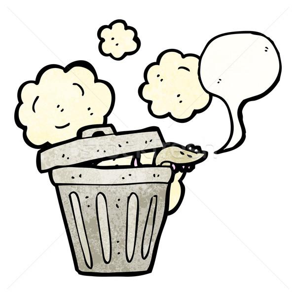 Cartoon мусорный ящик крыса ретро рисунок мусора Сток-фото © lineartestpilot