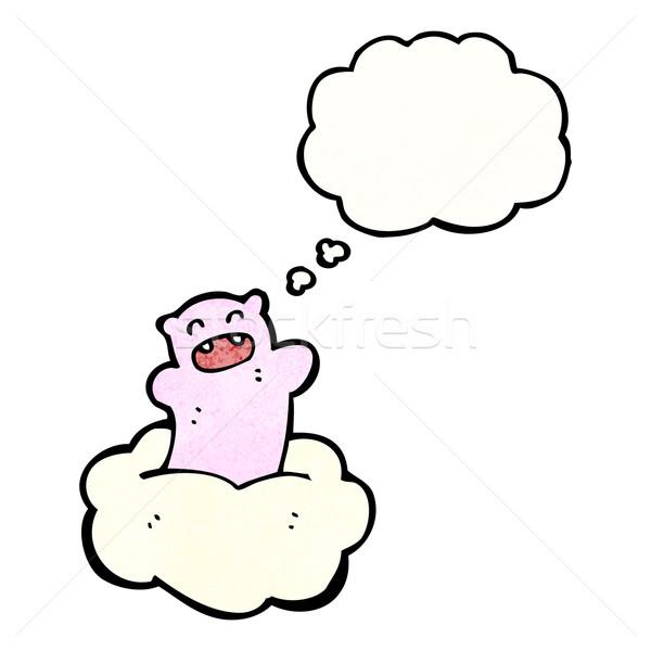 Rajz kicsi medve felhő retro rajz Stock fotó © lineartestpilot