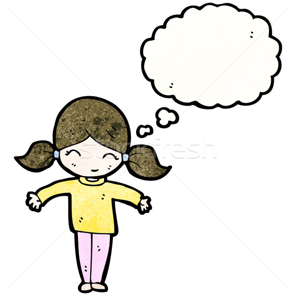 cartoon girl with pigtails and thought bubble Stock photo © lineartestpilot