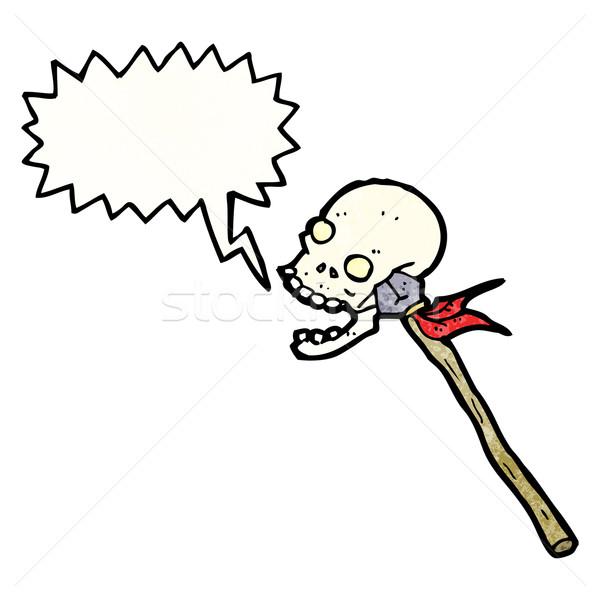 Cartoon crâne lance rétro dessin cute Photo stock © lineartestpilot