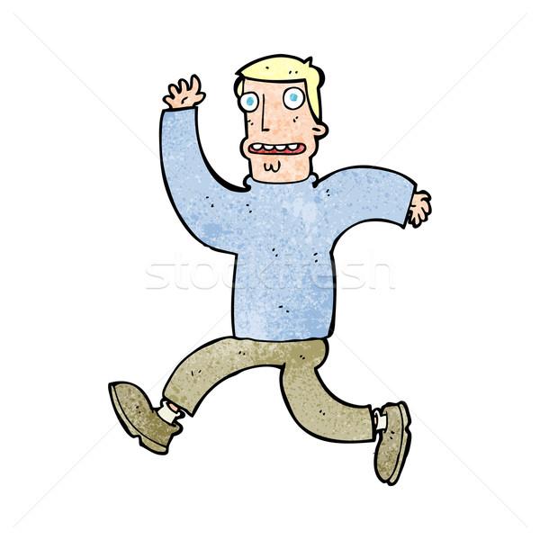 Cartoon przerażony człowiek projektu sztuki retro Zdjęcia stock © lineartestpilot