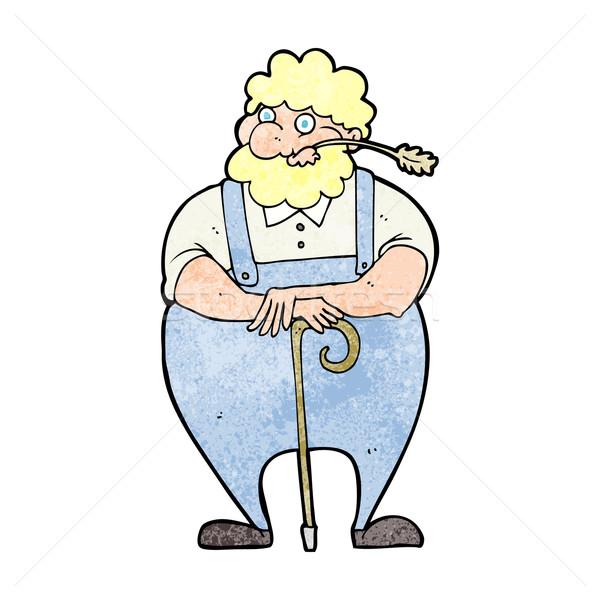 cartoon farmer leaning on walking stick Stock photo © lineartestpilot