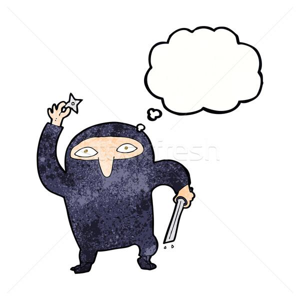 Desenho animado ninja balão de pensamento mão projeto arte Foto stock © lineartestpilot