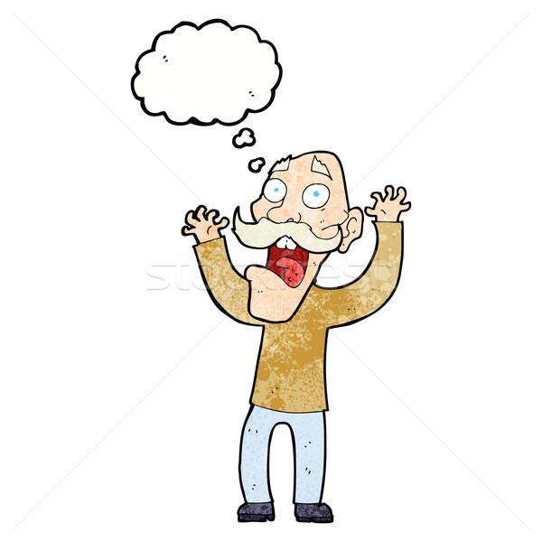 Rajz idős férfi ijedtség gondolatbuborék kéz férfi Stock fotó © lineartestpilot