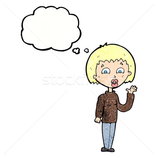 Karikatür kadın düşünce balonu el dizayn Stok fotoğraf © lineartestpilot