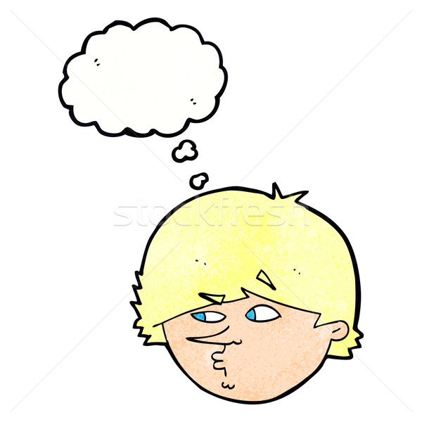 cartoon suspicious man with thought bubble Stock photo © lineartestpilot