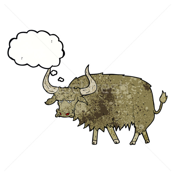 cartoon annoyed hairy cow with thought bubble Stock photo © lineartestpilot
