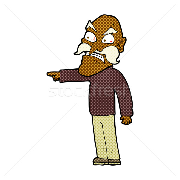 comic cartoon furious old man Stock photo © lineartestpilot