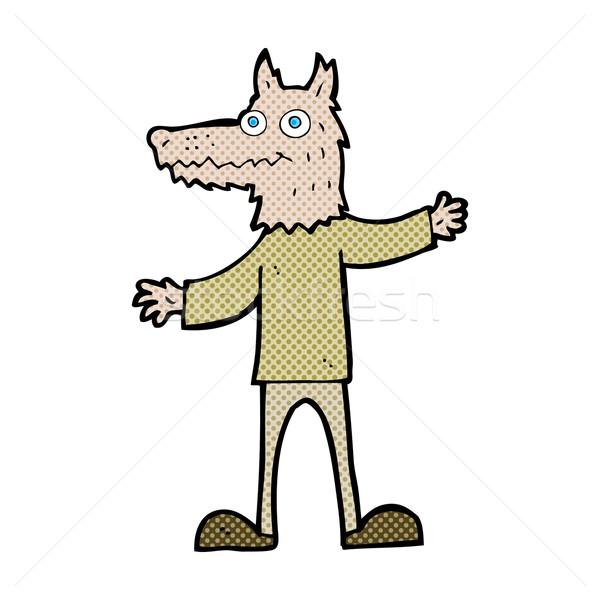 Cómico Cartoon lobo hombre retro Foto stock © lineartestpilot