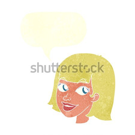 cartoon female face with thought bubble Stock photo © lineartestpilot