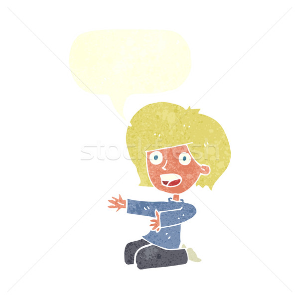 Karikatur schockiert Frau Sprechblase Hand Design Stock foto © lineartestpilot