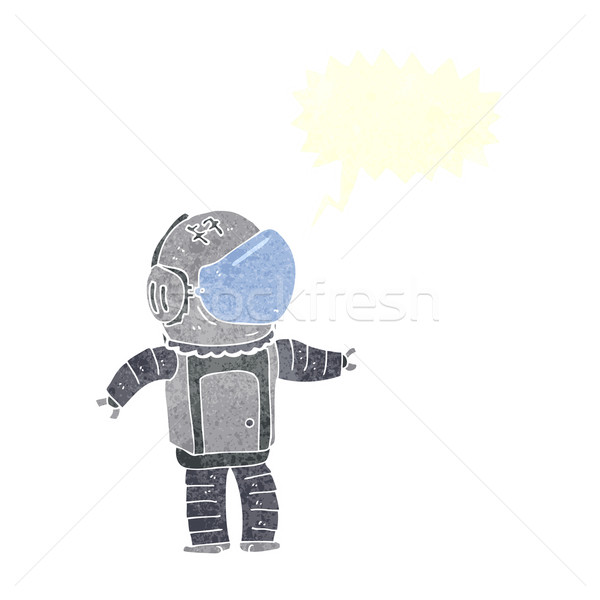 Cartoon astronaut tekstballon hand man ontwerp Stockfoto © lineartestpilot
