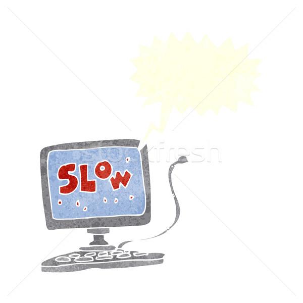 Cartoon замедлять компьютер речи пузырь стороны дизайна Сток-фото © lineartestpilot