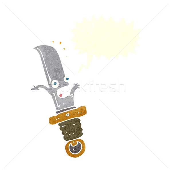 cartoon frightened knife with speech bubble Stock photo © lineartestpilot