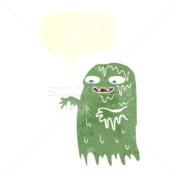 cartoon gross slime ghost with speech bubble Stock photo © lineartestpilot
