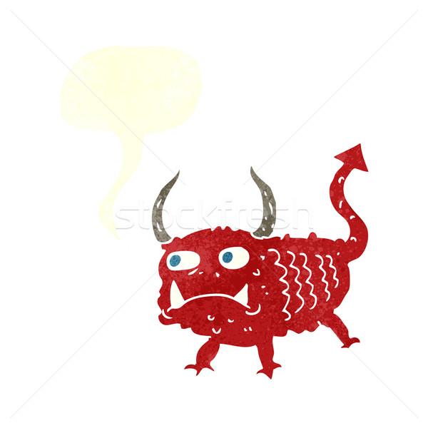 Cartoon mały demon dymka strony projektu Zdjęcia stock © lineartestpilot