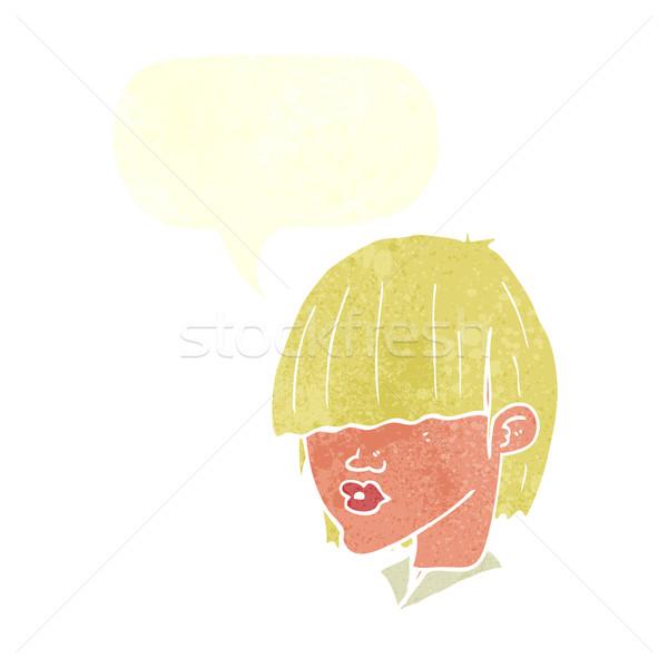 Karikatur Mode Haarschnitt Sprechblase Hand Design Stock foto © lineartestpilot