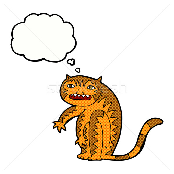 Cartoon tijger gedachte bel hand ontwerp kunst Stockfoto © lineartestpilot